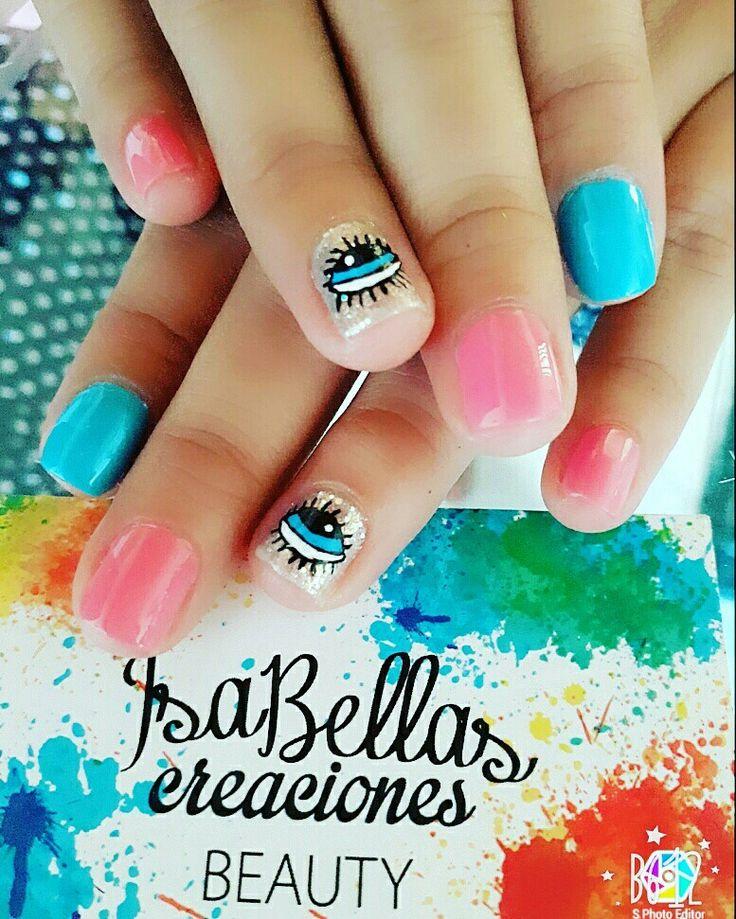 #arteconamor #uñaslindas #beauty #isabel #decoraciónconojos #nails #masglo #coloresvivos #uñaspequeñas