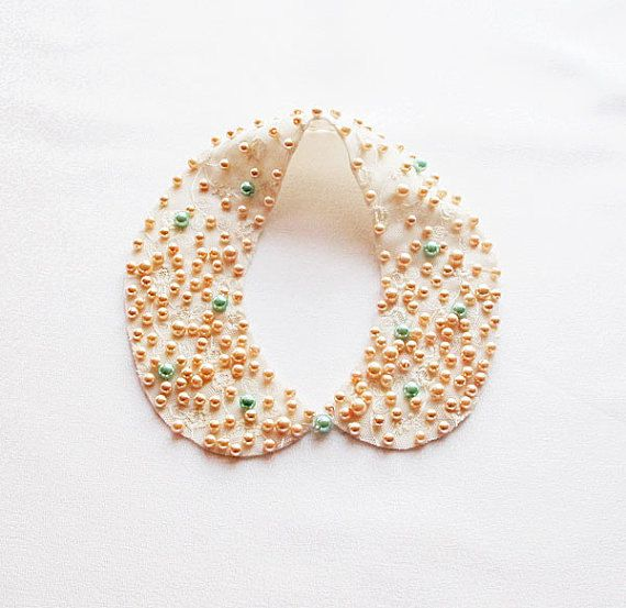 Pearl Collar Necklace Peach Pink Mint green   Pearl by aynurdereli, $34.00 #handmade #fashion #collar #sale #women #trend