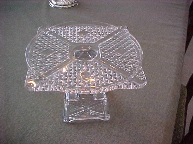 Antique Eapg Pedestal Cake Plate Round U0026 Square Very Nice