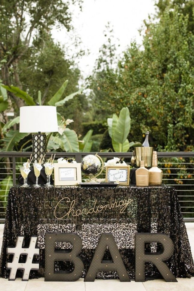 Keep the party going all night with a glamorous champagne bar.