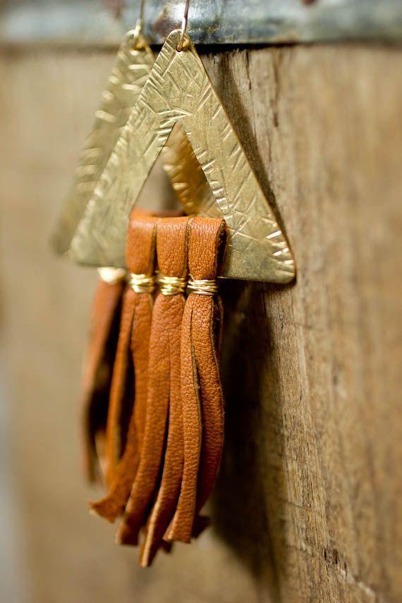 Boho Jewelry Dramatic Earrings Leather by RootsAndWingsJewelry