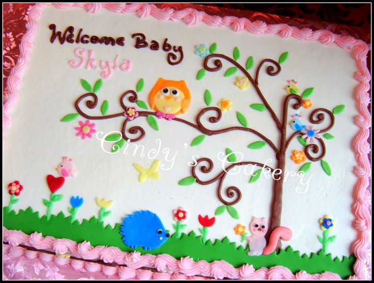 best sheet cake designs images on   cakes, cream and, Baby shower