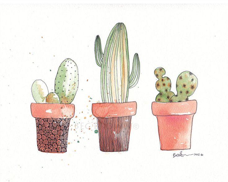 3 Cactus Plants Watercolor Zentangle Art by CloudsofColourShop