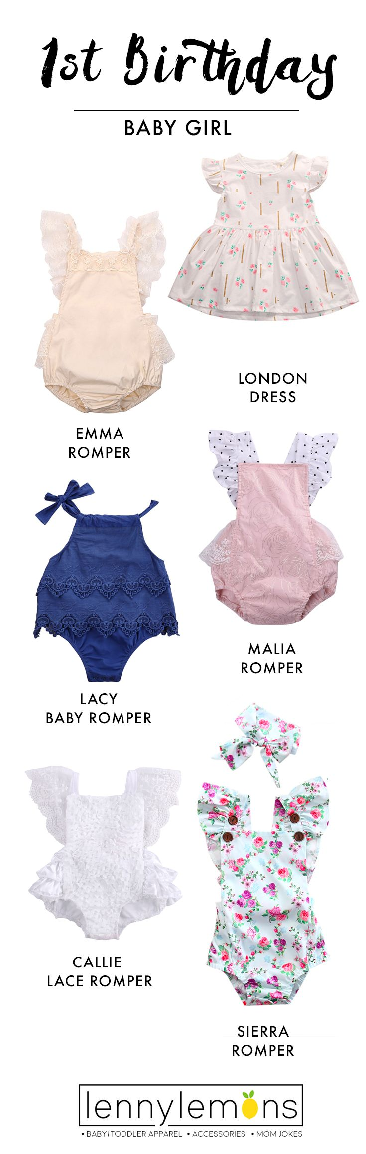 Your little girl is going to look so cute in these outfits! Get the perfect romper for her first birthday! Lenny Lemons