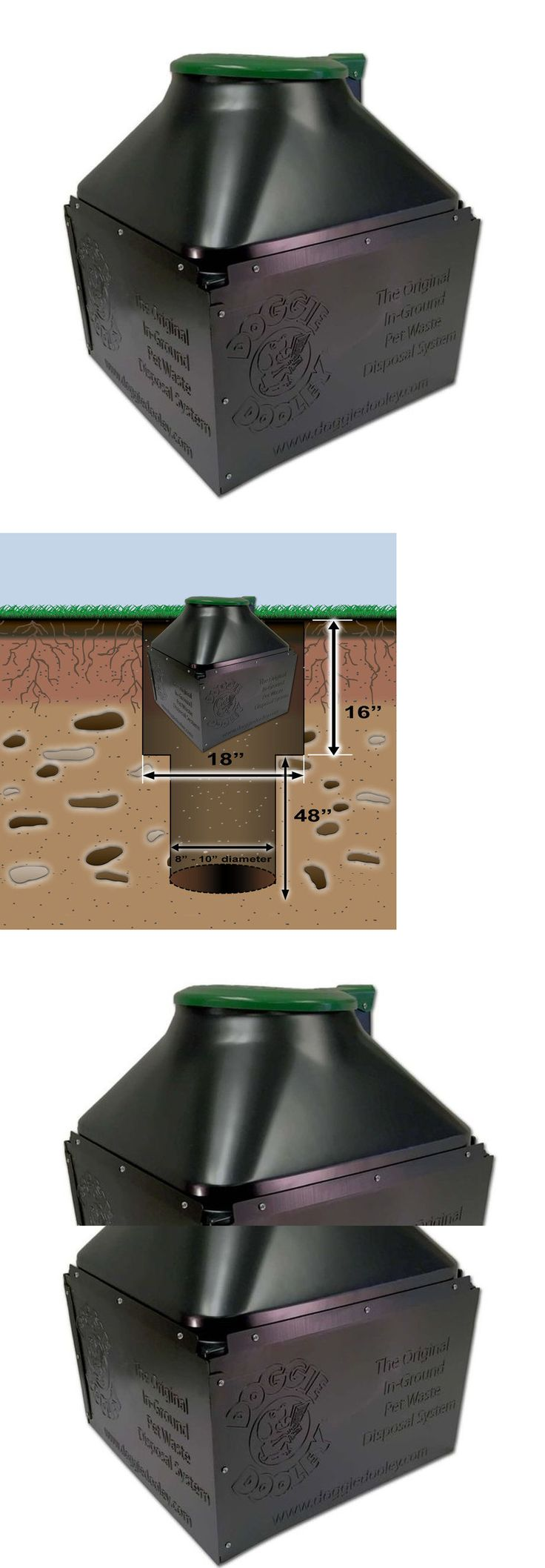 Pooper Scoopers and Bags 116392: Dog Waste Disposal System Pets Outside Septic Tank Black Plastic Green Lid Yard BUY IT NOW ONLY: $79.99