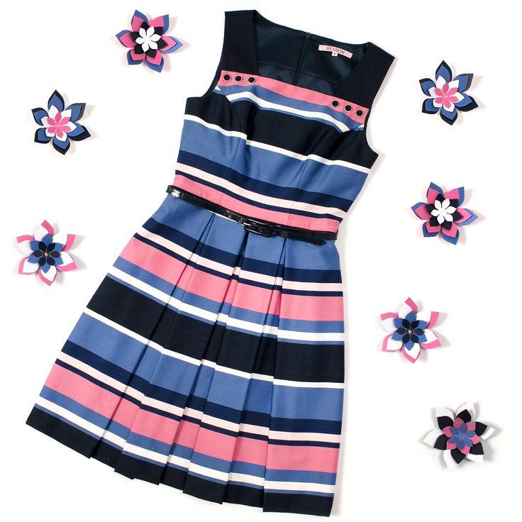Chrysalis Stripe Dress   Navy and Multi   Flatlay