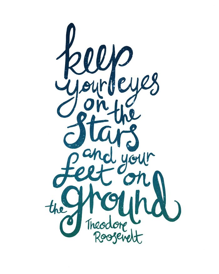 Eyes on the stars quote Art Print by Kit Cronk / Ruby & Pearl Press | Society6