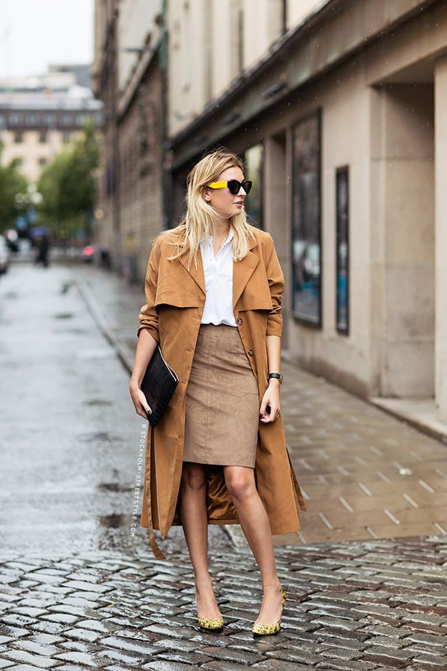 Trench and skirt look