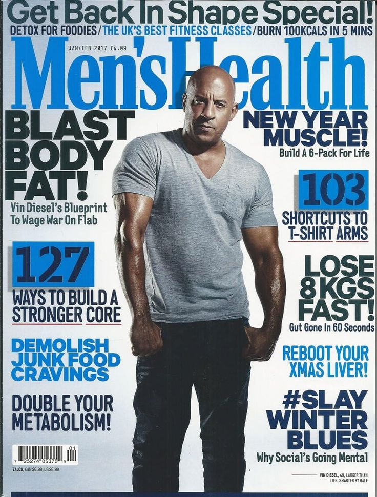 Mens Health magazine Vin Diesel Muscle Abs Workouts Big arms Fitness Recipes