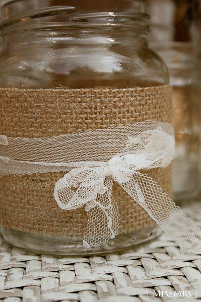 MissMrs, mucho más que una boda: La boda de X + D: Tarros de vidrio decorados por nosotros mismos