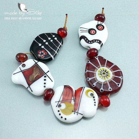11 handmade lampwork beads sra glass set by beautiful
