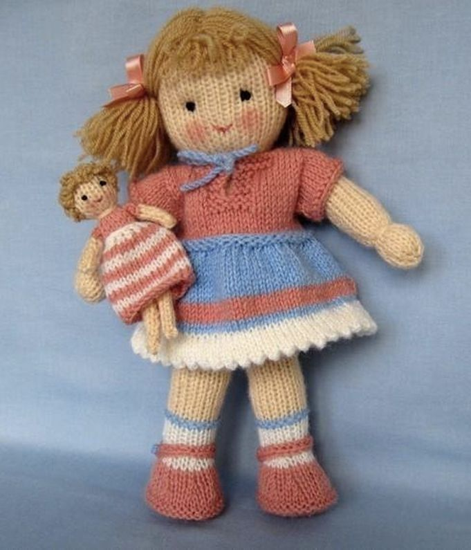 Adorable knitted doll by Dollytime - available at LoveKnitting