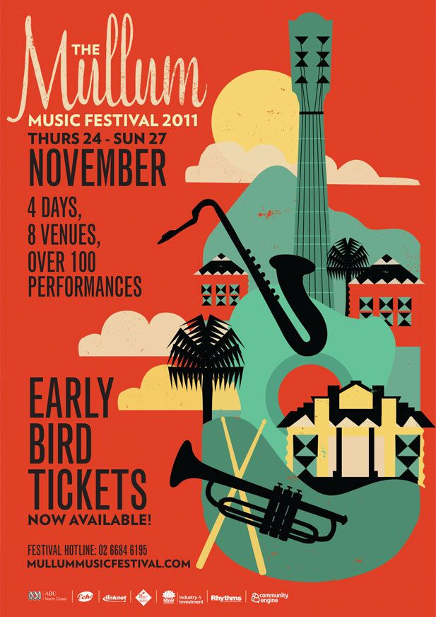 posters_mullum music festival concert poster. influences of art deco | Art festival poster ...