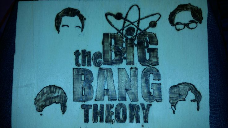 The big bang theory pirografia su legno