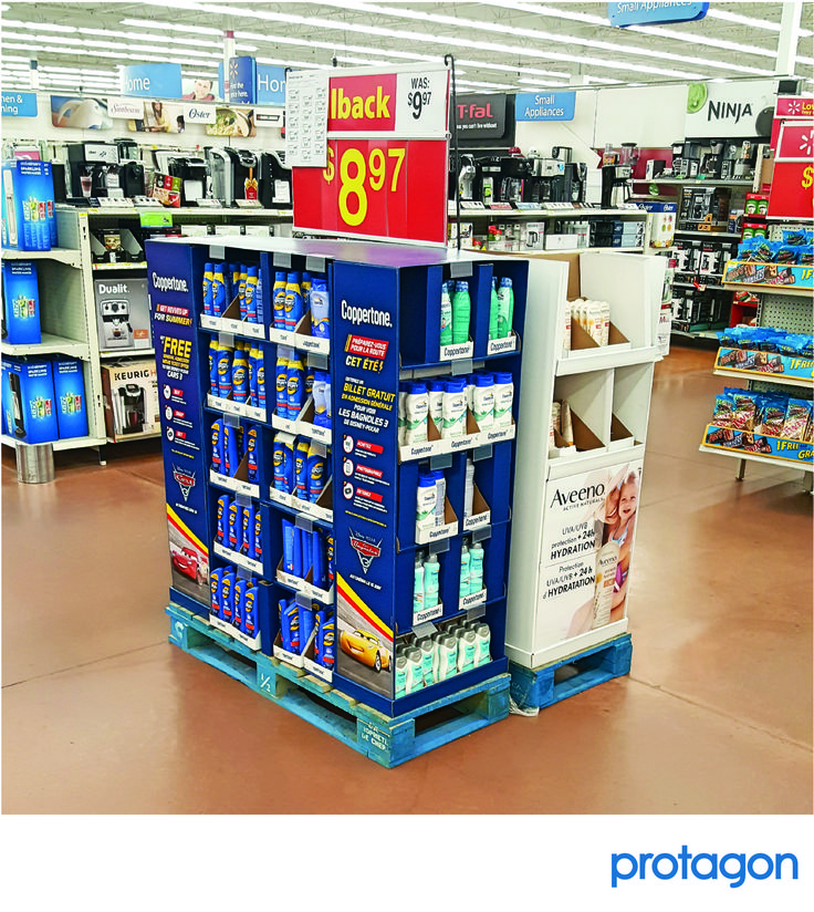 Protagon developed a modular, component based Half Pallet program to work across a variety of retailer requirements, while accommodating multiple pack outs.  Leveraging economic order quantities enabled us to hit both budget and structural requirements. #retaildisplays #coppertone #retail #teamwork www.protagon.com