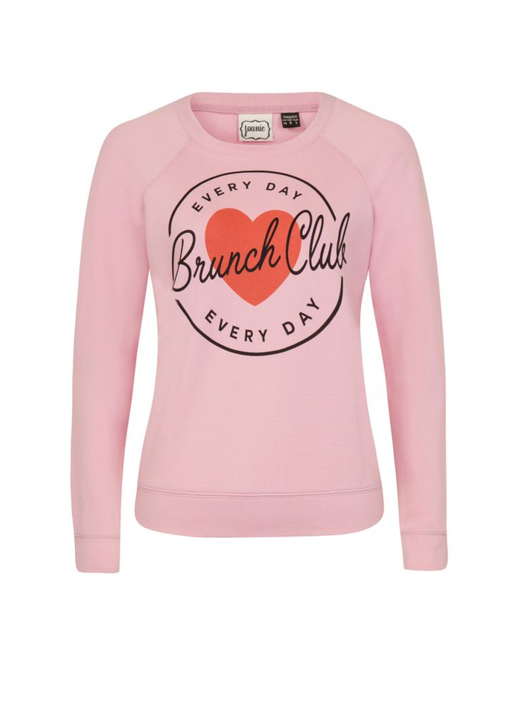 The Lotus Brunch Club Sweatshirt is a long-sleeved sweatshirt in soft pink printed with our 'Everyday Brunch Club' slogan.
