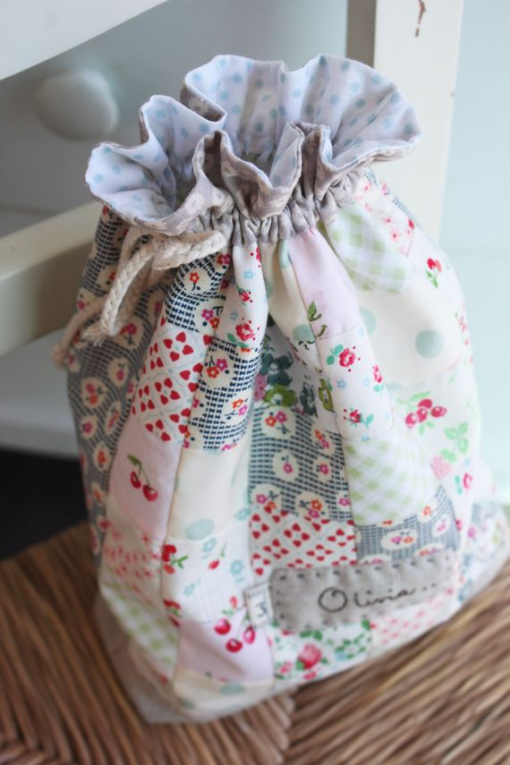 """@ nana Company - Drawstring Bag - 2"""" patchwork squares with linen hand-stitched label"""