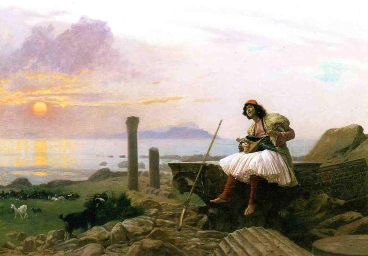 Joueur de guitare (également connu sous le nom de Sinter grec), huile sur panneau de Jean Léon Gérôme (1824-1904, France)