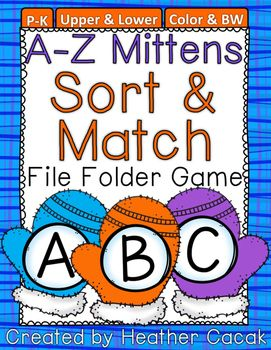 Thanks for your interest in my winter themed A-Z Mittens Alphabet Sort & Match File Folder Game.  Students play the game by sorting through the game pieces and matching one game piece per letter on the game mat.  This download includes:- 17 printable pages- Color & b/w version of game mats & game pieces- File folder tab labels (uppercase / lowercase)- Directions for game assembly{Tip 1} If game pieces are ending up everywhere but the file folder game mat, try placing the game on a...