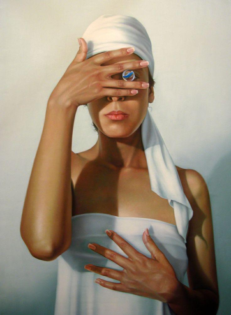 """Enrique García Saucedo (*1971) """"A travez de ti"""" Oil on canvas 145 x 90 cm."""