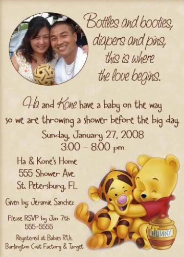 Winnie The Pooh Baby Shower Invitations | Winnie the POOH Baby Shower Invitation Ultrasound Photo