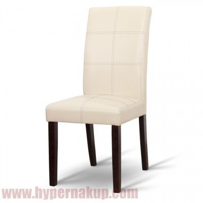 Jedálenská stolička,  Textilná koža PU krémová (čierne prešitie) + drevené nohy-farby: tmavý orech, Rozmery (ŠxHxV): 46x61x100 cm.  Dodávané v demonte.  Hmotnosť: 6.50 kg   Jedálenská stolička, tmavý orech/ekokoža krémová, RORY