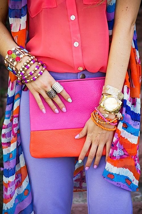 Colur color blocking block fashion arm candy bag: Colour, Outfits, Arm Candy, Fashion, Inspiration, Style, Accessories, Colors Blocks, Bright Colors
