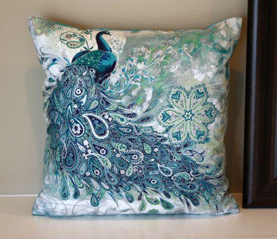 Beautiful paisley peacocks pillow size 14 x 14