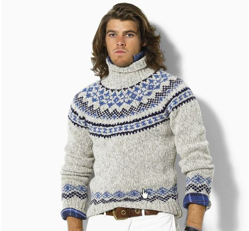 Fair Isle Sweater with blue plaid collared shirt underneath. Rolled up sleeves.
