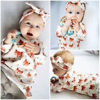 2PCS Newborn Baby Girl Pajamas Cotton Dress+Headband Outfit Cute Fox Set Clothes