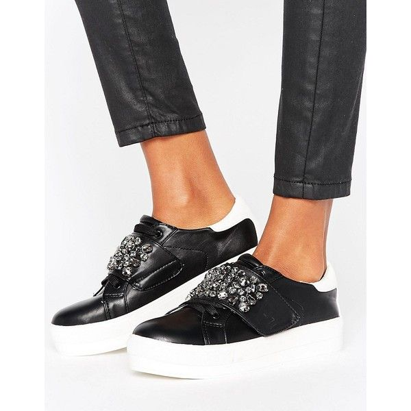 Missguided Embellished Platform Sneaker (64 AUD) ❤ liked on Polyvore featuring shoes, sneakers, black, platform shoes, strap sneakers, black sneakers, vegan shoes and lace up shoes