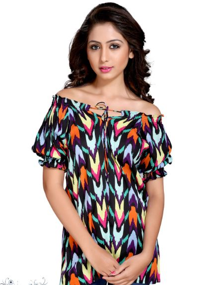 Rayon Multi Color Abstract Women Top