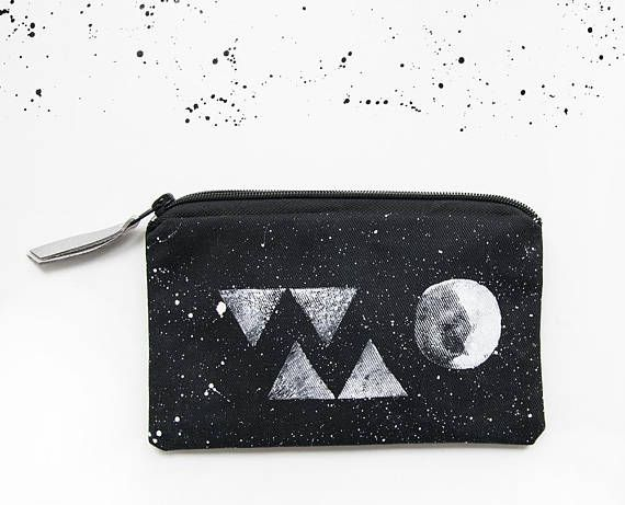 Moon triangle pouch hand painted constellation makeup bag