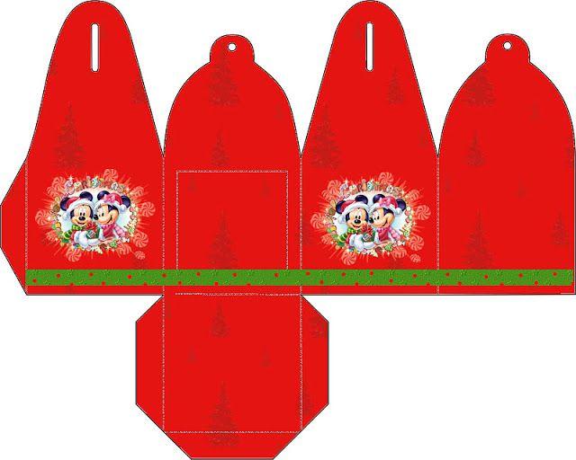 Cajitas imprimibles navideñas de Minnie y Mickey. Navidad