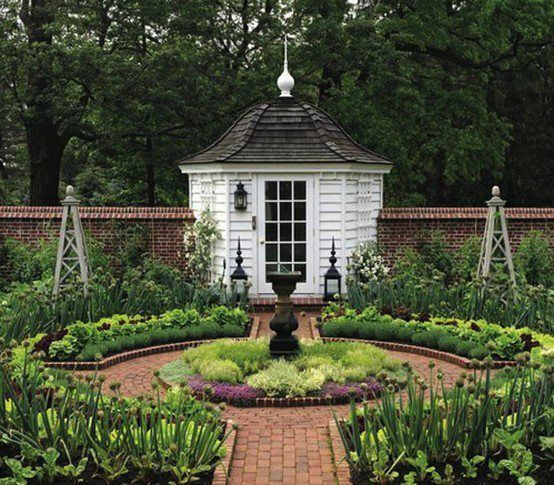 My lofty plans for the front yard with pebble stone for Brick garden shed designs