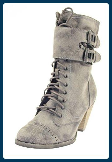 Stiefeletten Damenschuhe Farbe Cafe zum Schnüren & seitlichem Reißverschluss - Stiefel für frauen (*Partner-Link)