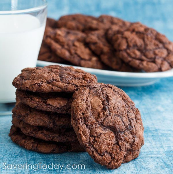 Soft, chewy chocolate cookies made with Ghirardelli Brownie Mix. Easiest cookies you will ever make.