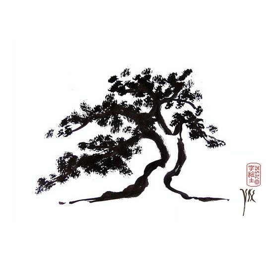 Bonsai sumi-e by: 7e55e  #art