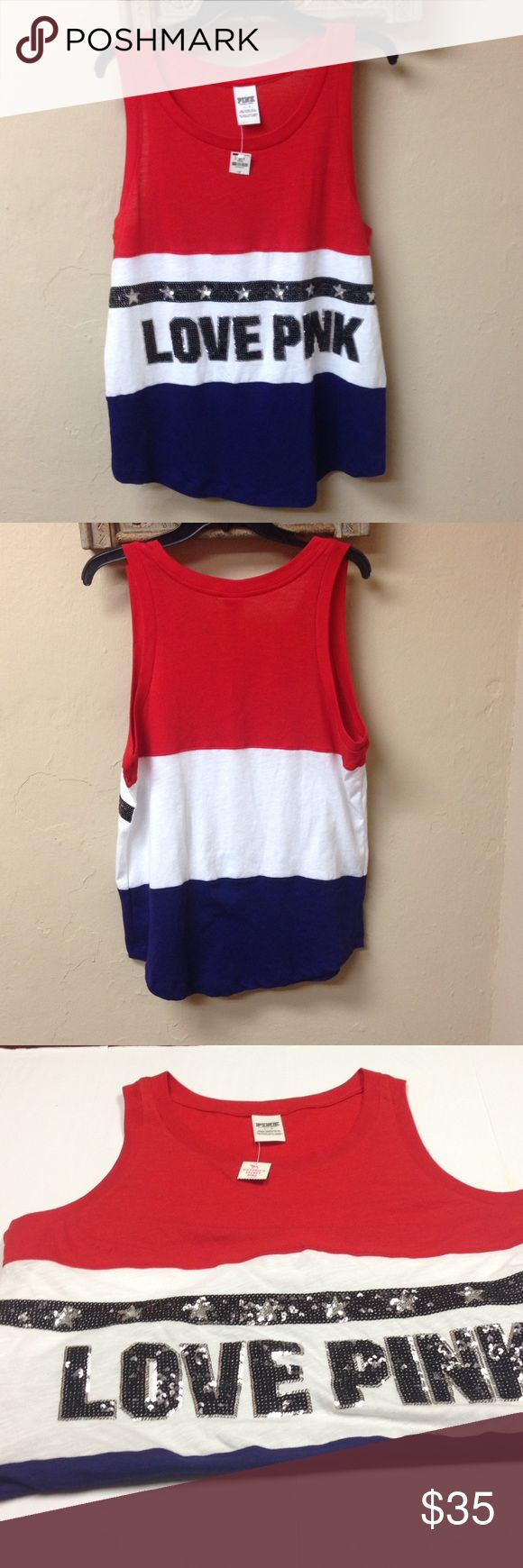 """Price is Firm‼️Victoria's Secret PINK Bling  Top Authentic Victoria's Secret Pink Bling, Sequins Patriotic Tank Top. Color: red, white and blue.  Women's Size Large. Armpit to Armpit approx.. 20"""". ‼️No Trades‼️ PINK Victoria's Secret Tops Tank Tops"""