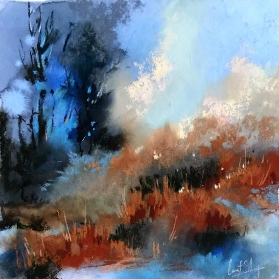 Blue And Orange Abstract Landscape Original Soft Pastels Painting Abstract Realism Painting Nature Abstract Art Landscape Realism Painting Abstract Landscape