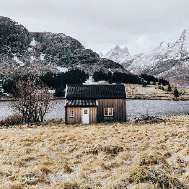 Cabin Home in the Lofoten Islands, Norway by Dan Lum.