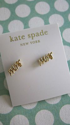 "Auth Kate Spade Say Yes ""Mrs"" Earrings - gold tone"
