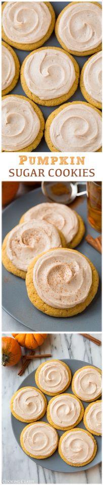 Pumpkin sugar cookies w/ cinnamon cream cheese frosting