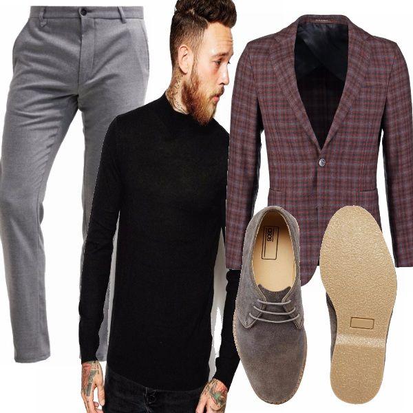 Sei alla ricerca di un outfit originale per le serate di festa? Stufo di indossare il solito vestito? Prova con uno spezzato composto da un originale giacca a quadri, un pantalone grigio e un dolcevita nero...sarai subito più trendy!