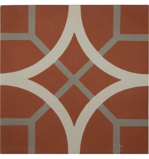 Interlink Encaustic Tile, Red & Grey