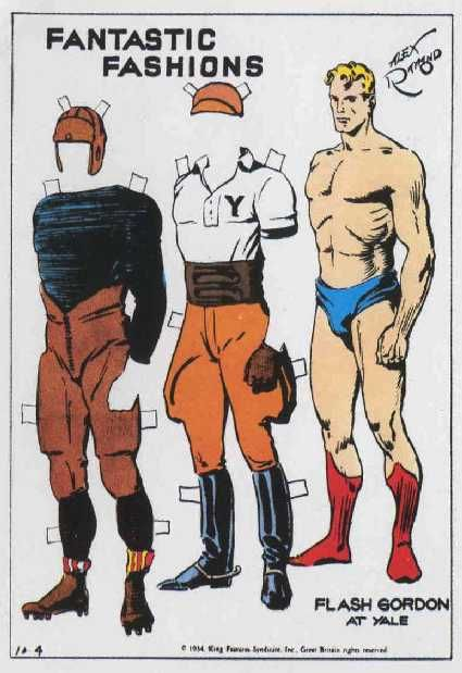 PD128 Flash Gordon Paper doll by Alex Raymond. (Didn't know that Flash Gordon attended Yale).