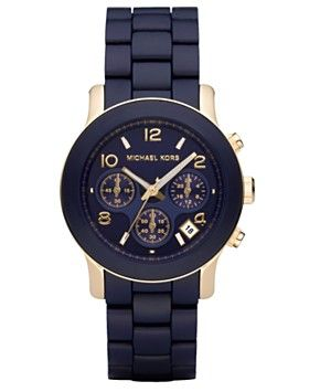 Michael Kors Women's Runway Navy Blue Polyurethane-Wrapped Gold-Tone Stainless Steel Bracelet Watch 38mm MK5316 - Watches - Jewelry & Watches - Macy's