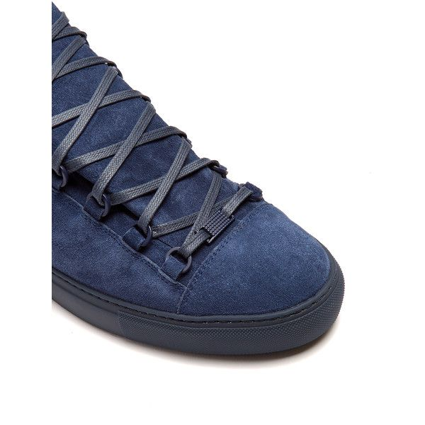 Balenciaga Arena high-top suede trainers ($585) ❤ liked on Polyvore featuring men's fashion, men's shoes, men's sneakers, mens suede sneakers, balenciaga mens sneakers, mens suede shoes, balenciaga mens shoes and mens high top sneakers