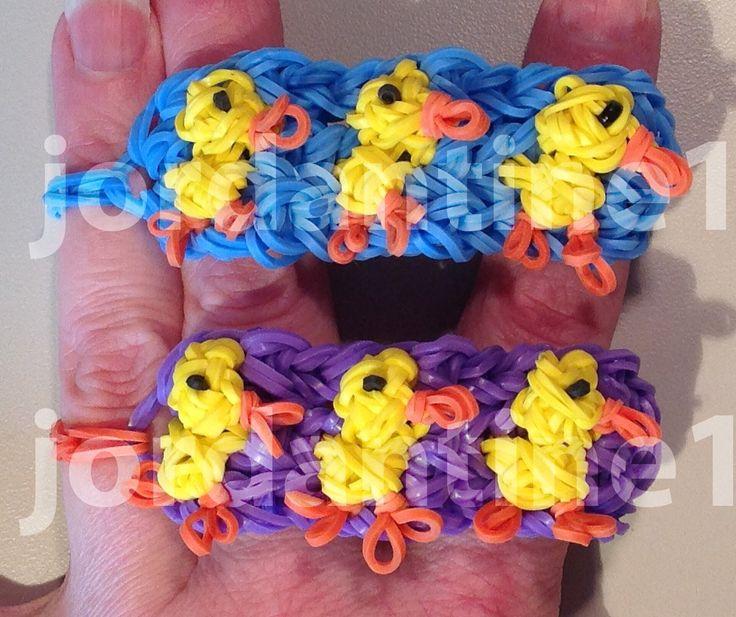 New Duckling Bracelet - Spring Easter Chick - Rainbow Loom -Advanced tutorial by Jordantine1