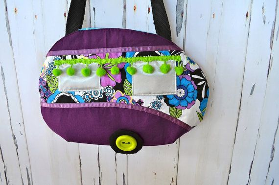 Retro caravan handbag Purple trailer bag OOAK by RobynFayeDesigns